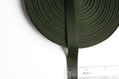 "ARMY GREEN dark khaki olive 1"" 25mm WIDE WEBBING strapping polypropylene strong."