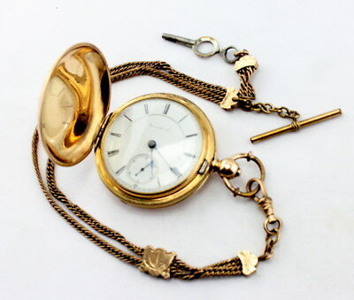 Illinois Antique 1879 Hunter Case Pocket Watch With Chain Running 18S Kw #1667