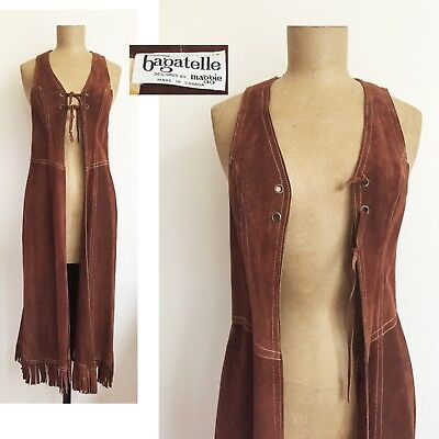 60s 70s BAGATELLE Fringed SUEDE leather MAXI Vest - Brown Long Open Dress XS