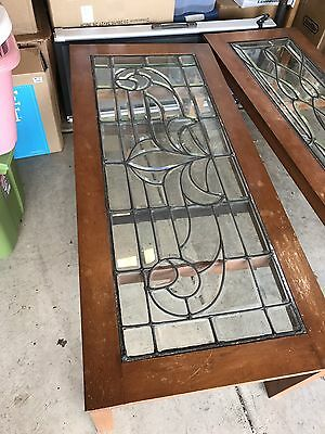 Pair Victorian Beveled Leaded Glass Windows Custom Tables Stunning