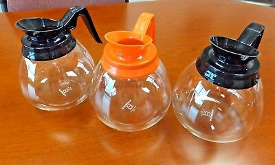 Coffee Pot Decanter Blk/Org 64oz Commercial Lot of 3 Coffee Pots for BUNN Brewer