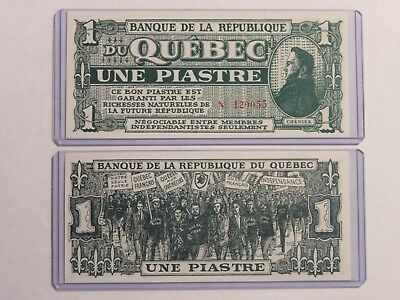 1 new note Banque Republique Republic Bank QUEBEC une piastre Chenier Patriotes