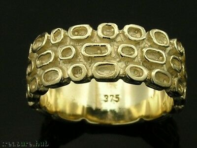 R033 Genuine 9ct 9K SOLID Yellow Gold THICK & Heavy Retro Wedding Band size R
