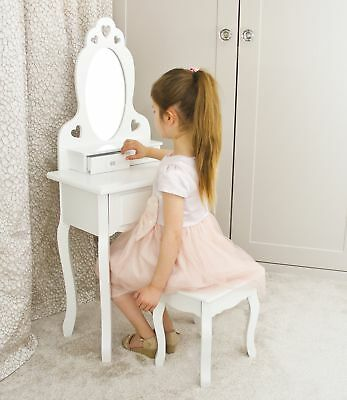 Girls Dressing Table With Stool and Mirror | Small Kids Vanity Table Ideal fo...
