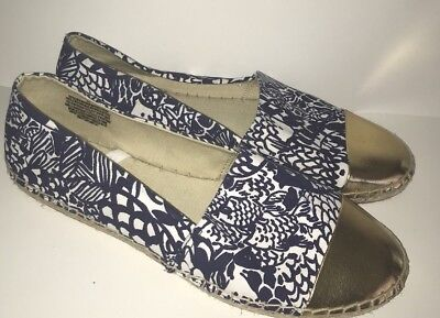 193d711529eda6 Lilly Pulitzer For Target Upstream Fish Espadrilles Blue Gold New Size 11M