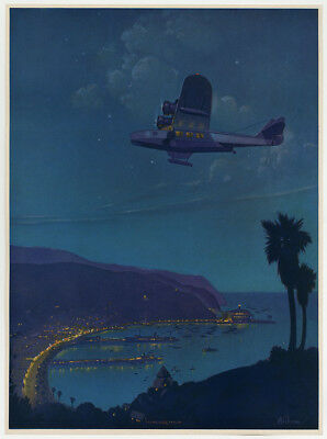 Vintage Ruehl Heckman 1940s Flying Over Avalon Art Deco Aviation Catalina Print