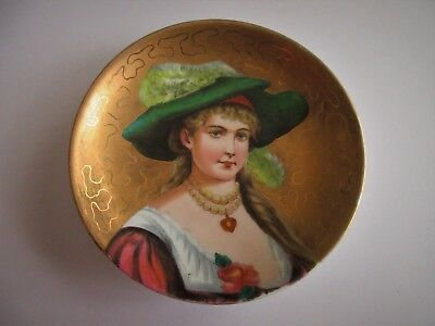 ANTIQUE,handpainted,porcelain plate,Victorian Lady feather hat, SMALL SIZE