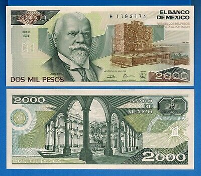 Mexico P-86 2000 Pesos Year 28.3.1989 Uncirculated Banknote