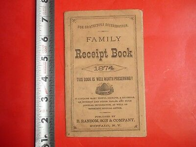 HS513 Antique 1874 Family Receipt Book D.Ransom Son & Co Cure for Cancer