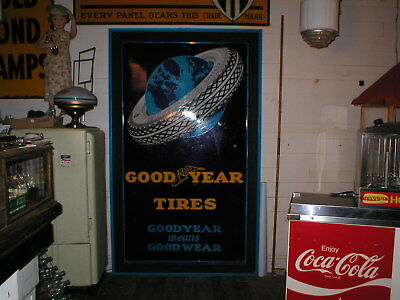 Super rare sign! 7' X 4' GOODYEAR Tire Sign PORCELAIN Gas Oil original condition