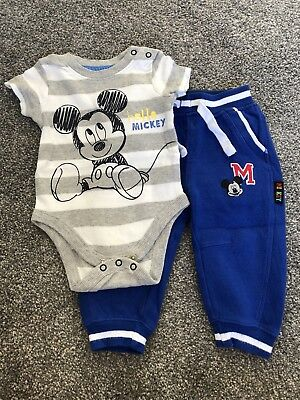 Mickey Mouse baby boy set joggers vest 9-12 months IMMACULATE