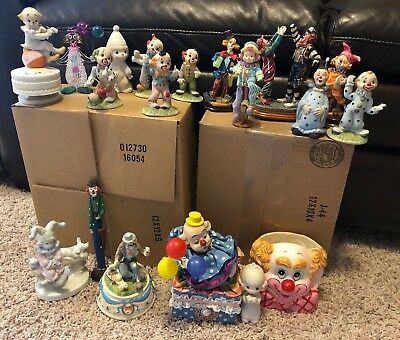 Lot of 18 Vintage Jester/Clown dolls and Ceramic clown Figurines CIRCUS Bisque