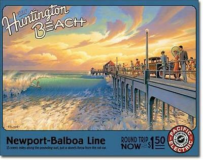 Huntington Beach USA California Surf Wellenreiten Reisen Vintaeg Metall Schild
