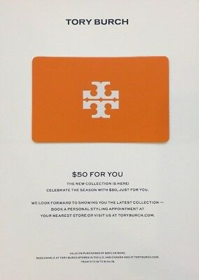 ebfe24a62527 TORY BURCH - 50 OFF  250 Coupon Card- In Store or Online - Valid 7 17 -  8 14 18 -  2.50