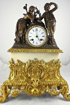 Antique French Empire Early 1800's Gilt Bronze 2 Tone Twin Figural Mantle Clock