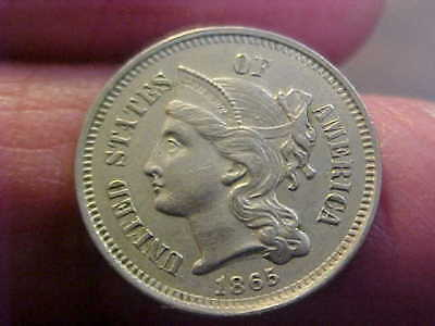 1865   Three-Cent Piece Nickel 3 Cent High Grade Nice Coin !