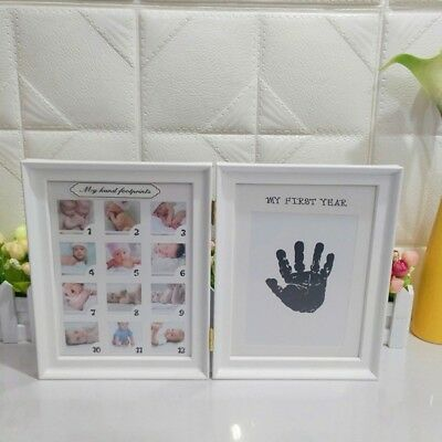 Baby My First Year 12 Month Double Photo Frame Handprints or Footprints Keepsake