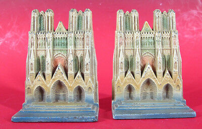 Antique 1920s Cast Iron HEIM CATHEDRAL 134 Painted Art Craft Bookends Pair  yqz
