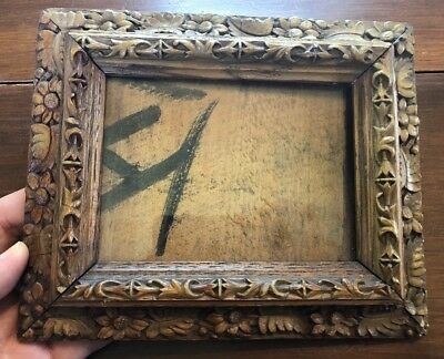 """Best Antique 19th Century Carved Wood Picture Frame w/ Floral Design (8"""" X 6.5"""")"""