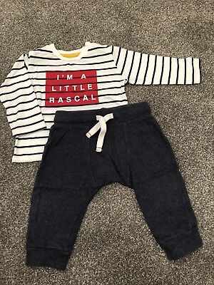 M&S Marks and Spencer baby boy set joggers top 9-12 months IMMACULATE