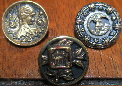 Vintage Antique Lot Of 3 Picture Buttons~Brass Metal Figures