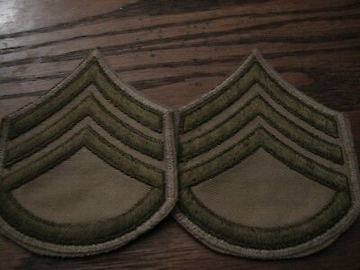Original WW2 US Army STAFF SGT. Khaki-Tan Chevrons -  Pair- NOS