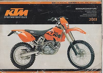 Ktm Exc Racing & 450 / 525 Sx Exc Mxc Racing Orig. 2003 Owner Instruction Manual