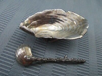 GORHAM SHELL Salt Cellar & Salt Spoon 1889 NARRAGANSETT Style STERLING SILVER