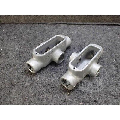 "Lot of 2 Eaton X28 Crouse-Hinds Conduit Body, 3/4"", Form 8, Iron"