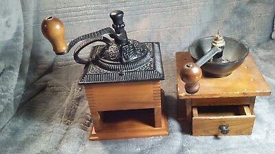 Lot Of Two (2) Made In Usa Antique-Vintage Coffee Grinders