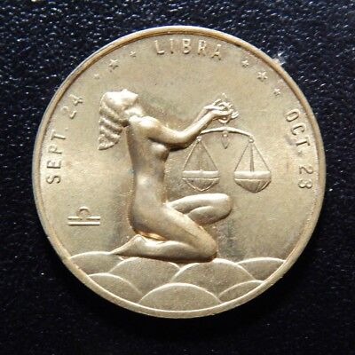 Vintage You Will Not Be Discouraged Libra Zodiac Astrological Token!   Xx124Xxx