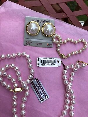 Lot Of Vintage MARVELLA Nwt Pearl Necklaces Bracelet Earrings Pink/White