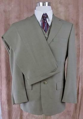 TALLIA UOMO~Olive Green 3 Pc Suit~Super 100s~40S~30x28.5~Pleated & Cuffed~USA