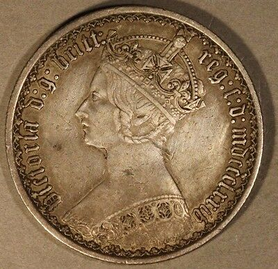 1874 Great Britain Gothic Florin Nice Details  OC ** Free U.S. Shipping **