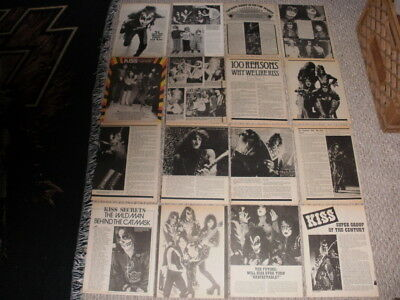 Kiss Rare Vintage Clippings Articles Lot Of 64 Gene Simmons Paul Peter Ace