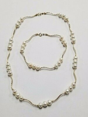14k Yellow Gold Pearl Necklace & Bracelet Set Jewelry #MS-PNBS34