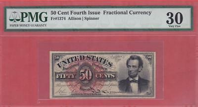 "1869-75 50¢ ""LINCOLN"" U.S. Fractional - PMG VF 30                    x4a"