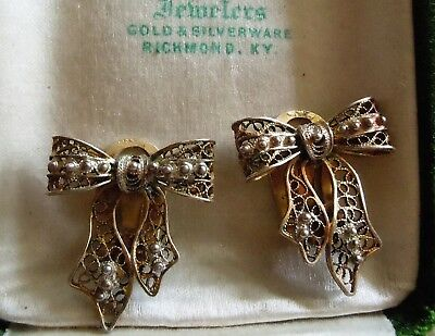 Antique Vintage Chinese Export 800 Silver Gold Gilt Filigree Bow Earrings