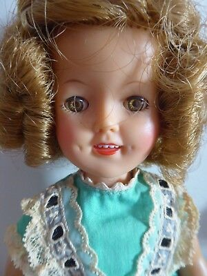 Shirley Temple Doll 12'' Tagged Green  Dress Original.1950's