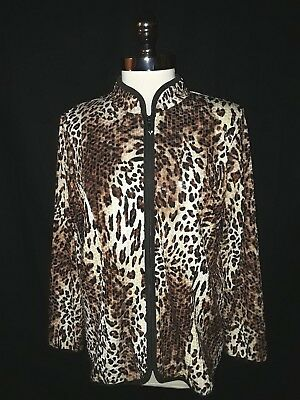 QUACKER FACTORY Size L Jacket Black Brown Leopard Animal Print Shimmery