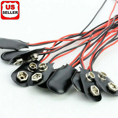 1 5 10 Pcs Snap 9V (9 Volt) Battery Clip Connector I Buckle Type Black w/ Cable