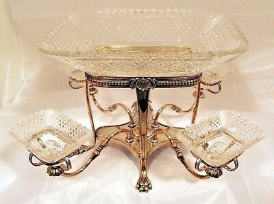 An Old Sheffield Plate square framed 5 bowl epergne, English c.1800-20.