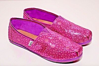 3d8045ee193 Toms Kids Print Purple Sparkle Flat Comfy Slip On Shoes size Y6 (Youth)