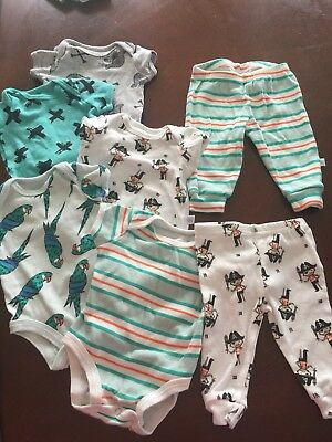 Rosie Pope Size 0-3 Months Pirate Layette 5 Bodysuits And 2 Pants Leggings