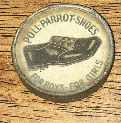 Antique Poll Parrot Shoes Advertising Display Tag Sign ONice Shape Game!