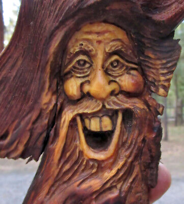Wood Spirit Tree Gnome Forest Face Gnome Wizard Sculpture Carving Art