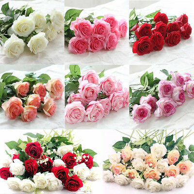 Us Latex Real Rose Flowers For Wedding Bouquet Home Party Decor Gift