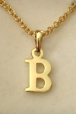 GENUINE SOLID  9K 9ct  YELLOW  GOLD  INITIAL  B  LETTER  PENDANT