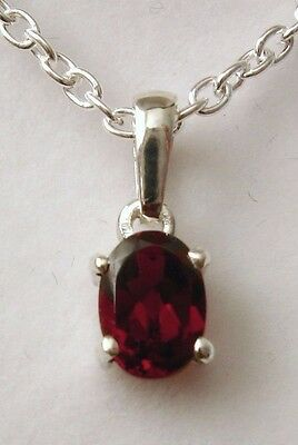 Genuine Solid 925 Sterling Silver Garnet January Birthstone Birthday Pendant