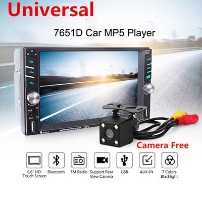 "6.6"" Touch Screen MP5 2DIN Bluetooth FM Radio Stereo Player Rear Camera For Auto"